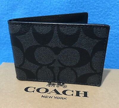 NEW MEN'S COACH SIGNATURE PVC ID CARD CASE IN CHARCOAL BLACK (No Tag)