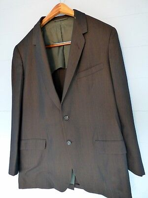 Vintage 1950s~Hickey Freeman~Brown Striped Sharkskin Suit~40 R~33x28 pants~EXE!