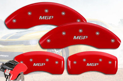 """2017-2018 Fiat 124 Spider Front + Rear Red """"MGP"""" Brake Disc Caliper Cover STD 4p"""