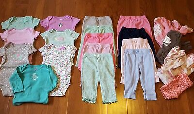 Baby Girl Clothes Lot of 20 Sz 9 months Bodysuits Pants Sleepers Outfits Carters
