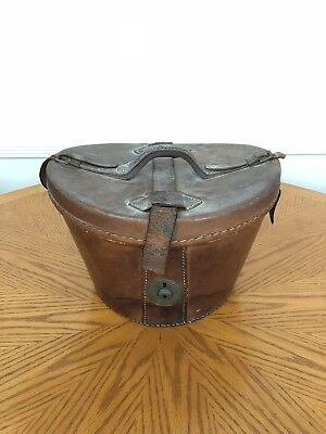 Antique Leather Hatbox Distressed Leather Velvet Lined