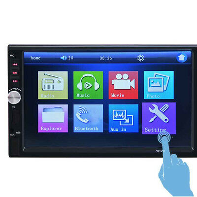 7inch 2DIN Car MP5 Player Bluetooth Touch Screen Stereo Camera Radio HD+Rear New