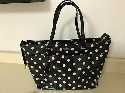 Kate Spade diaper bag black with cream polka dots