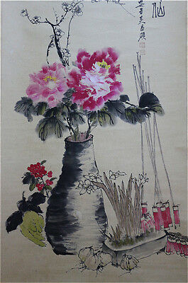 """RARE Chinese 100% Handed Scroll & Painting """"Flowers"""" By Wu Changshuo 吴昌硕 WSX369"""