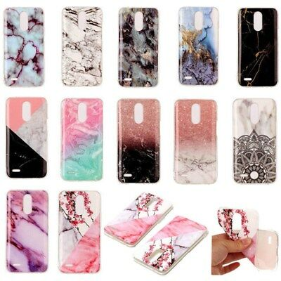 Luxury Marble Patterned Soft Rubber Silicone Case Cover For LG K10 K8 K4 2017