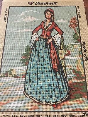 VINTAGE Unworked DIAMANT TAPESTRY CANVAS Made In Greece ETHNIC GREEK LADY