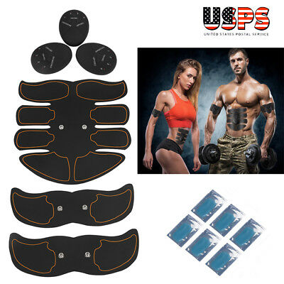 Electric Muscle Toner EMS Machine Wireless Toning Belt Abs Burner 6 Pack+ 6 Pads