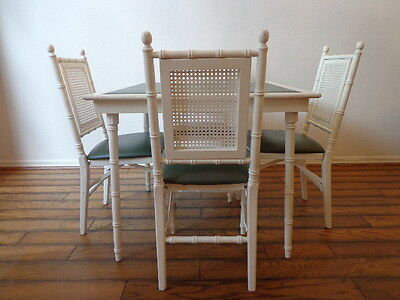 5PC Vintage Game Table Chairs Dining Faux Bamboo Dinette Kitchen Bistro Folding