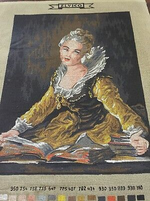 VINTAGE Unworked ELVICO TAPESTRY CANVAS Lady In Gold Dress