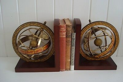 Antique Vintage Armillary Sphere World Globe Book Ends - Made In Italy