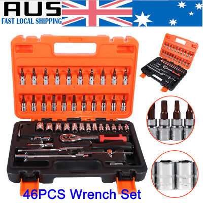 """AU 46X Socket Spanner Wrench Set 1/4"""" Drive Metric Extension Bar Truck Hand Tool"""
