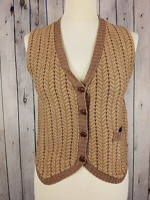 Ladies 1970s Acrylic Skinny Fit Collared Brown Knitted waistcoat Vest UK14 GA93