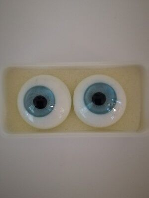 SOLID GLASS PAPERWEIGHT DOLL EYES IN PALE BLUE 14 mm to 28 mm