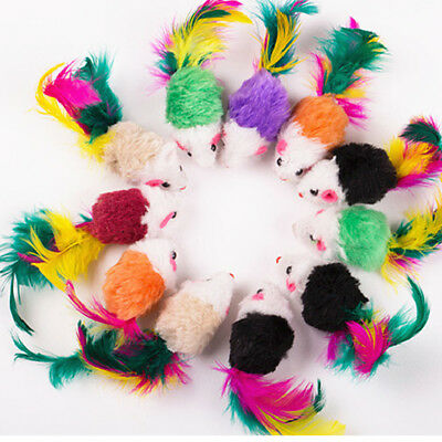 5pcs/Lot Soft Fleece False Mouse Feather Playing Toys For Pet Cat Funny