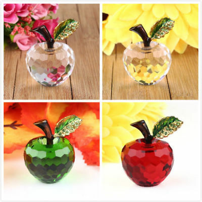 Vintage 3D Crystal Apple Shaped Paperweights Decors Ornaments Wedding Gift New