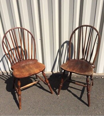Antique Windsor Back Wood Chairs Lot of 2