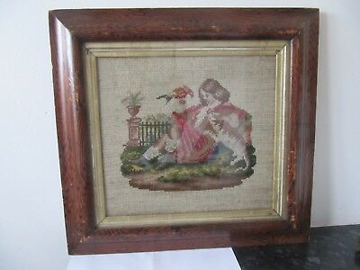 Antique Wool Framed Tapestry Lady, Cat & Parrot Georgian or Victorian