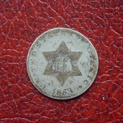 USA 1853 silver 3 cents