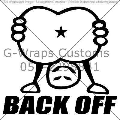 "Back Off! Funny car sticker universal for all cars 6"" vinyl High quality"