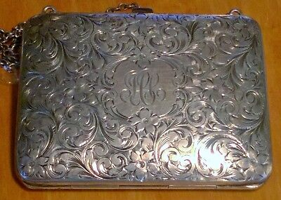 Gorgeous Antique Sterling Silver Purse Carved 1890s Very Good Condition