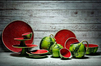Bordallo Pinheiro Watermelon Set 14 Pieces  Hand Painted Complements  New Brand