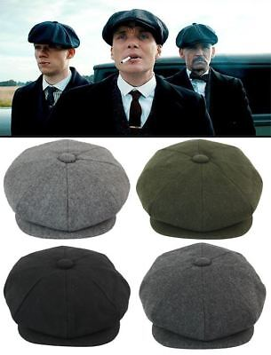 Mens Tweed Newsboy Cap Peaky Blinders Baker Boy Flat Grandad Hat 8 Panel Plain