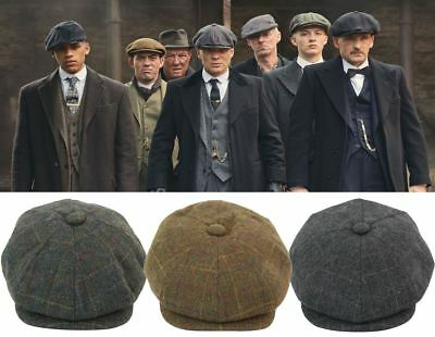 38c17827eee Mens Tweed Newsboy Cap Peaky Blinders Baker Boy Flat Check Hat Green Grey  Brown