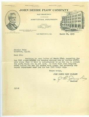 Signed Mar 28, 1929 John Deere Plow Company, San Francisco, California Letter