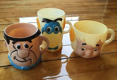 Lot Of 3 Vintage Flintstones Vitamins Mugs Cups Fred Dino And Bam Bam