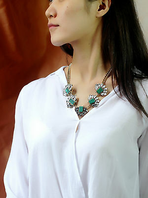 Necklace Short Golden Chain Malachite Green Floral Grey Retro AZ 2
