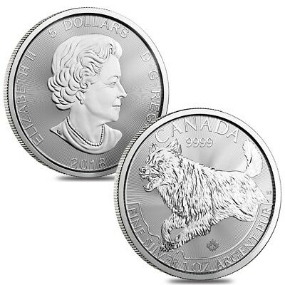 Lot of 2 - 2018 1 oz Canadian Silver Wolf Predator Series $5 Coin .9999 Fine