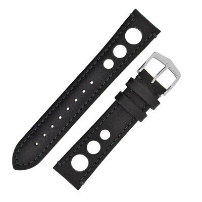 Hirsch RALLY Natural Perforated Racing Calf Leather Watch Strap in BLACK/BLACK
