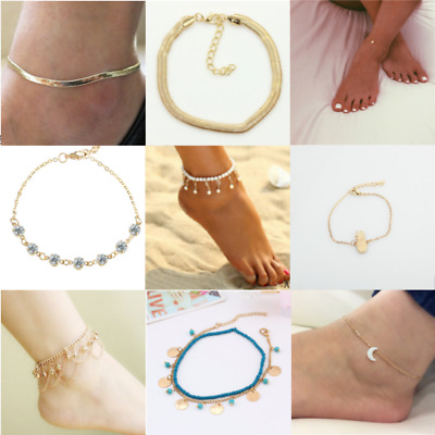 Gold anklet opal Crystal boho Indian Bollywood Payal Multi chain adjustable