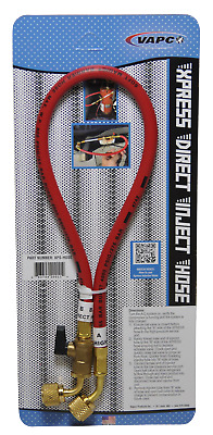 "Vapco Express Direct Inject Hose 22"" Red Hose with Ball Valve"