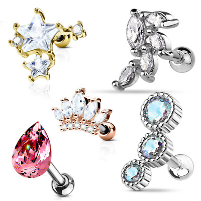Barbell Studs Helix Tragus Rook Piercing Crystal Stars Conch Cartilage Earring
