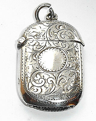 Antique Silver Vesta Case Small Oval Chased Decoration Birmingham 1903
