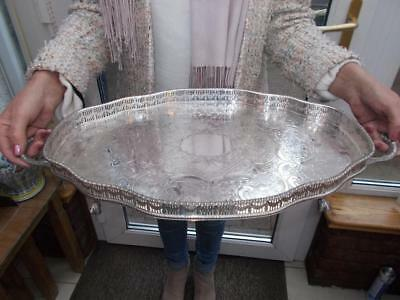 Superb Large Vintage Silver Plated Serpentine Tray Elegant Ball & Claw Feet