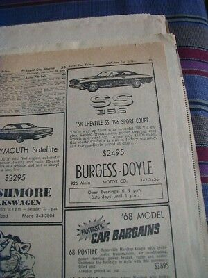 1969 chevrolet chevelle ss 396 newspaper ad also plymouth satallite