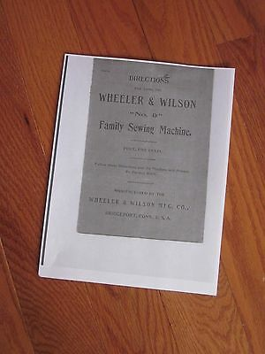 Wheeler & Wilson Manual Family Sewing Machine No. 9 Directions 14 pp Copy of