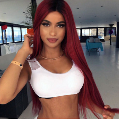 Natural Women's Long Straight Wig Heat Resistant Synthetic Hair Wigs Black Red