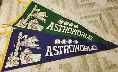 a855bc5667b8 VINTAGE SIX FLAGS Astroworld Blue and Green Felt Pennant - $49.99 ...