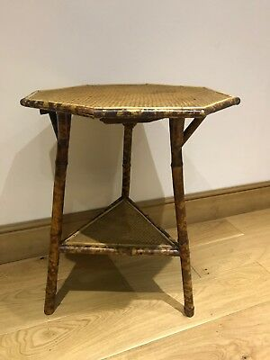 Antique Vintage Victorian octagonal Two Tier Bamboo And Ratan Side Table