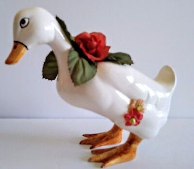 White Porcelain Goose Duck Fabric Flower Covered  Figurine