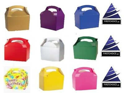 Brand new Childrens Kids Birthday Plain Solid Colour theme Party FOOD BOXES