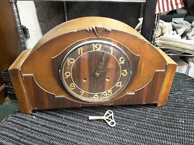FHS German Chime Franz Hermle Mantel Shelf Clock W/Key Working VINTAGE DECO $99