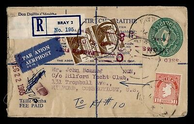 Dr Who 1965 Ireland Bray Registered Air Mail Uprated Stationery C13526