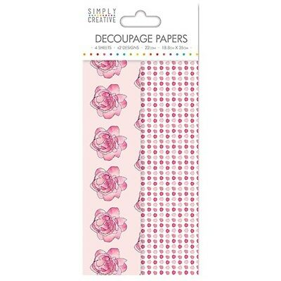 Simply Creative Watercolour Roses Decoupage, Decopatch Papers SCDEC040