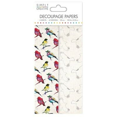 Simply Creative Vibrant Birds Decoupage, Decopatch Papers SCDEC067