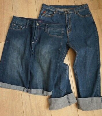 2 pairs NYDJ not your daughters jeans-sz 12-capri rolled cuff and burmuda shorts