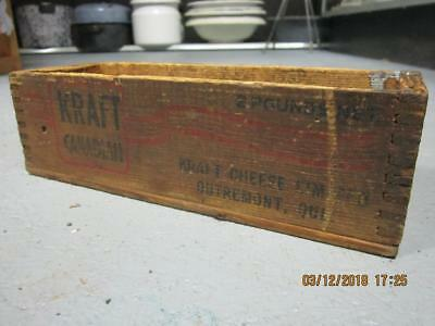 vintage 2 lbs wood cheese box Kraft canadian Wooden  Box Crate Country Store